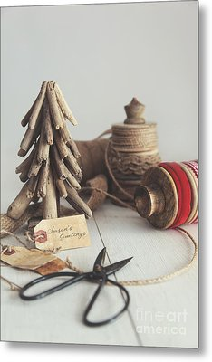 Metal Print featuring the photograph Rustic Twine And Ribbon For Wrapping Gifts by Sandra Cunningham