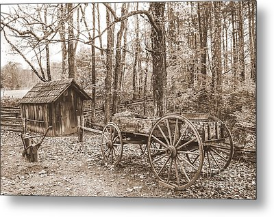 Rustic Wagon Metal Print by Debbie Green