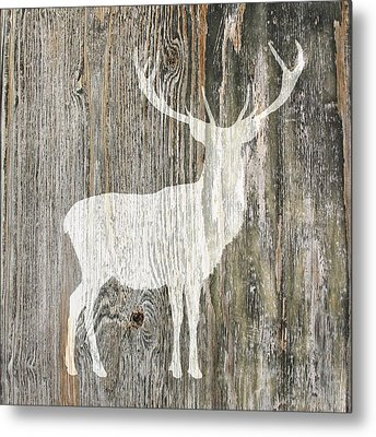 Rustic White Stag Deer Silhouette On Wood Right Facing Metal Print
