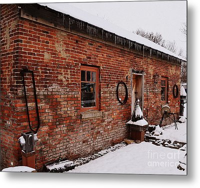 Rustic Workshop In Winter Metal Print