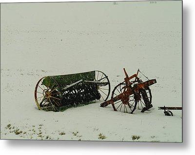 Rusting In The Snow Metal Print by Jeff Swan