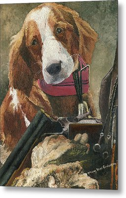 Metal Print featuring the painting Rusty - A Hunting Dog by Mary Ellen Anderson