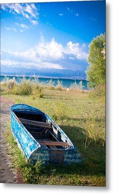 Rusty Blue Boat Metal Print by Sofia Walker