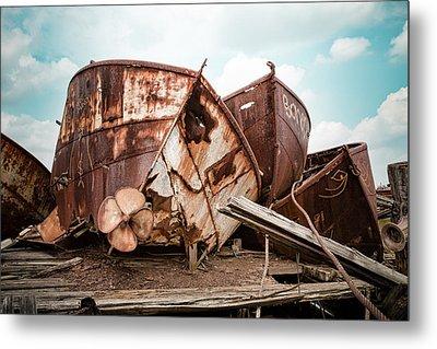 Rusty Boat Hulls - Nautical Vessels Metal Print by Gary Heller