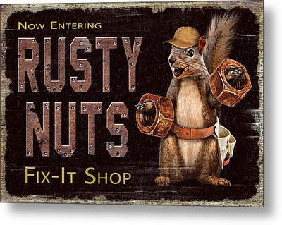 Metal Print featuring the painting Rusty Nuts by JQ Licensing