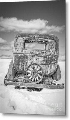 Rusty Old Car In The Snow Metal Print