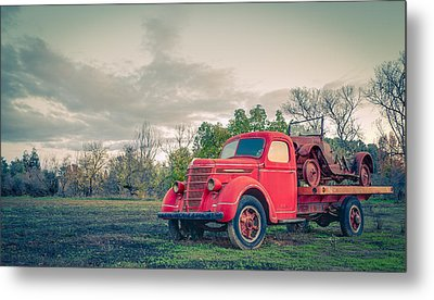 Rusty Old Red Pickup Truck Metal Print by Sarit Sotangkur