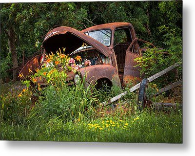 Rusty Truck Flower Bed - Charming Rustic Country Metal Print by Gary Heller