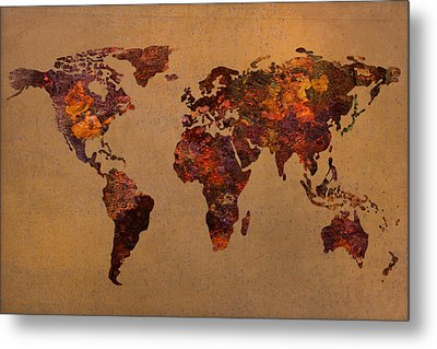 Rusty Vintage World Map On Old Metal Sheet Wall Metal Print by Design Turnpike