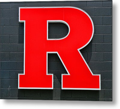 Rutgers Block R Metal Print by Allen Beatty