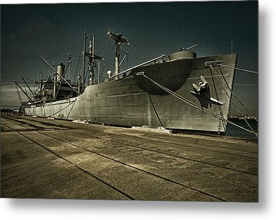 Metal Print featuring the photograph S. S. Lane Victory ... W W 2 Era Victory Class Cargo Ship by Chuck Caramella