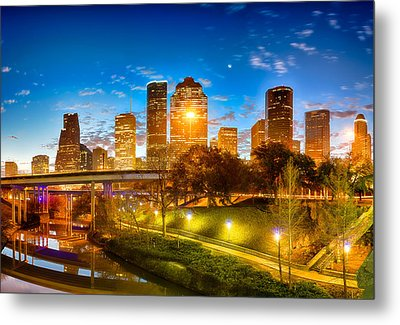 Sabine Street View Of Houston Metal Print