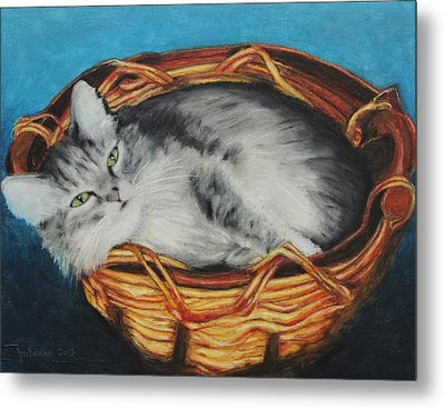 Sabrina In Her Basket Metal Print by Jeanne Fischer