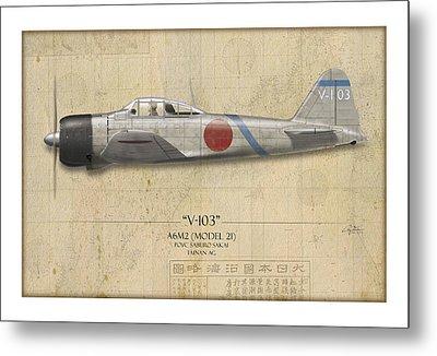 Saburo Sakai A6m Zero - Map Background Metal Print by Craig Tinder
