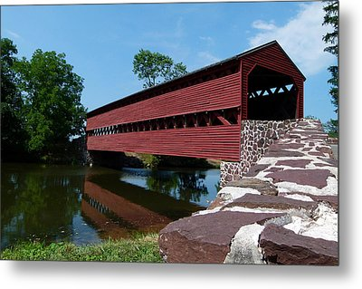 Metal Print featuring the photograph Sachs Covered Bridge by Cindy McDaniel