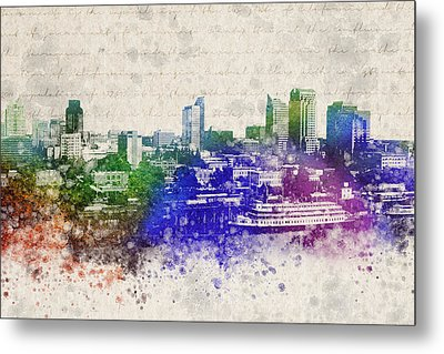 Sacramento City Skyline Metal Print by Aged Pixel