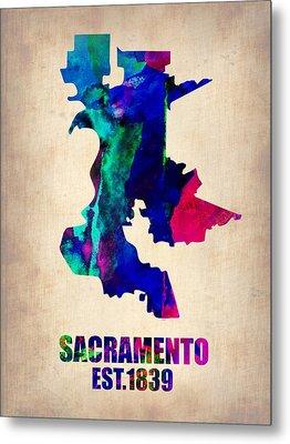 Sacramento Watercolor Map Metal Print by Naxart Studio