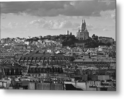 Sacre Coeur Over Rooftops Black And White Version Metal Print by Gary Eason