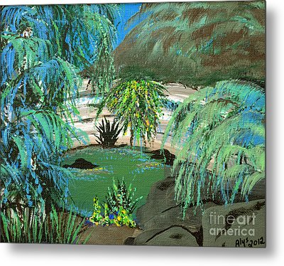 Metal Print featuring the painting Sacred Cenote At Chichen Itza by Alys Caviness-Gober