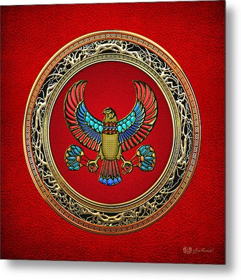 Sacred Egyptian Falcon Metal Print by Serge Averbukh