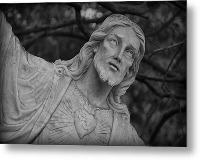 Sacred Heart Of Jesus - Bw Metal Print by Beth Vincent