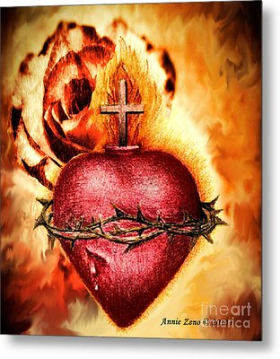 Sacred Heart Of Jesus Christ With Rose Metal Print by Annie Zeno