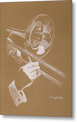 Sacred Trombone Metal Print by Karen  Loughridge KLArt