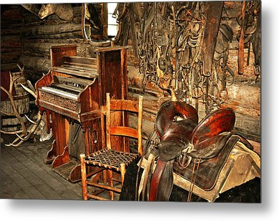 Saddle And Piano Metal Print by Marty Koch