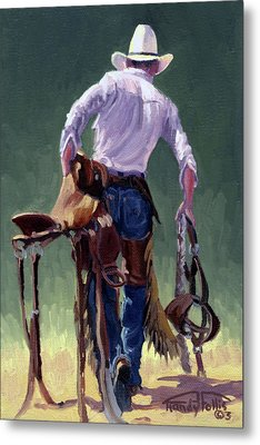 Saddle Bronc Rider Metal Print by Randy Follis