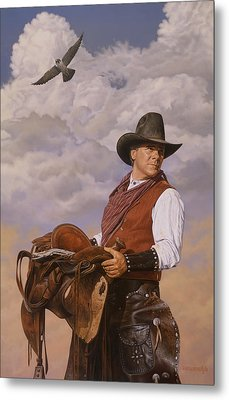 Saddle 'em Up Metal Print by Ron Crabb