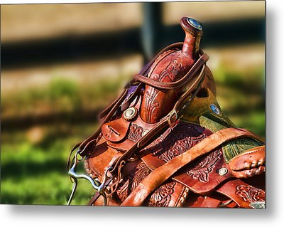 Saddle In Waiting Western Saddle Horse Metal Print