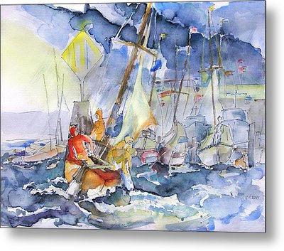 Safe And Sound Back At The Port Metal Print by Barbara Pommerenke