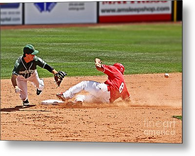 Safe At Second Metal Print by Bob Hislop