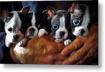 Safe In The Arms Of Love - Puppy Art Metal Print