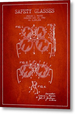Safety Glasses Patent From 1942 - Red Metal Print by Aged Pixel