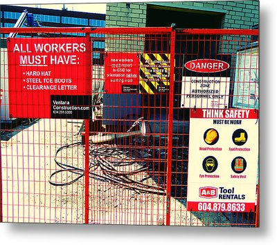 Metal Print featuring the photograph Safety Signs by Laurie Tsemak