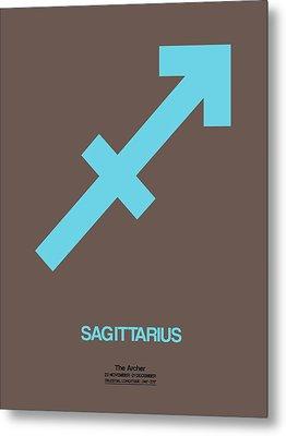 Sagittarius Zodiac Sign Blue Metal Print by Naxart Studio