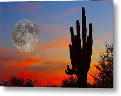 Saguaro Full Moon Sunset Metal Print