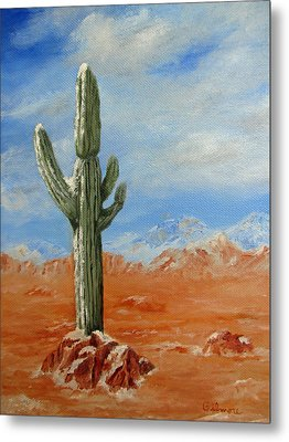 Metal Print featuring the painting Saguaro In Snow by Roseann Gilmore