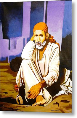 Sai Baba Sitting In Dwarkamai Shirdi  Metal Print