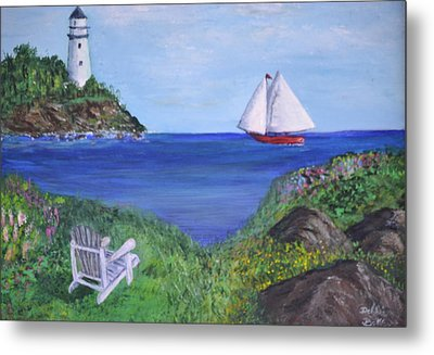 Metal Print featuring the painting Lighthouse View by Debbie Baker