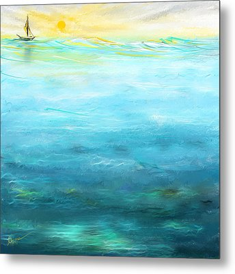 Sail Away- Sailing At Sunset Painting Metal Print