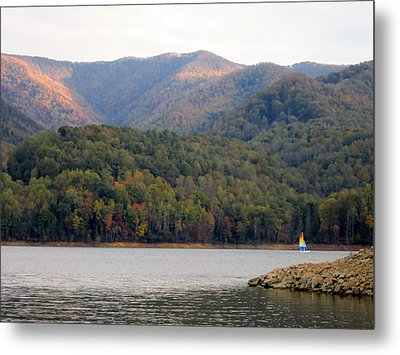 Sail Boat And Mountains Metal Print