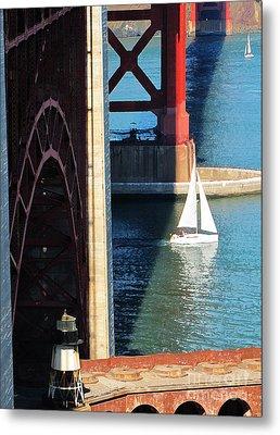 Sail Boat Passes Beneath The Golden Gate Bridge Metal Print