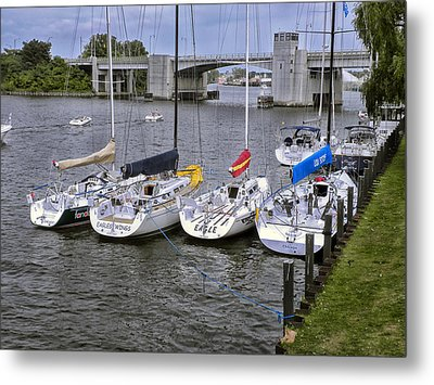 Sail Boats 4 In A Row Metal Print by Thomas Woolworth