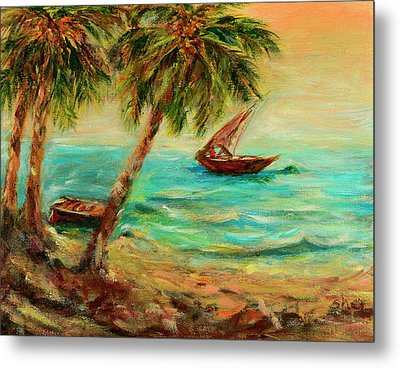 Sail Boats On Indian Ocean  Metal Print by Sher Nasser