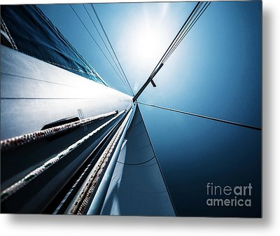 Sail Over Blue Clear Sky Metal Print by Anna Om