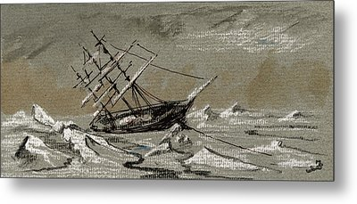 Sail Ship Arctic Metal Print