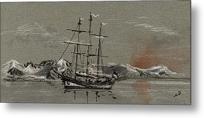 Sail Ship At The Arctic Metal Print