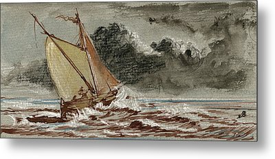 Sail Ship Stormy Sea Metal Print